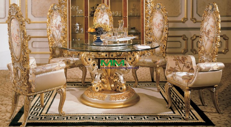 Kursi Makan Mewah Gold Glass, Luxurious Glass Table, for Italian Dining Room, Sets Using Luxurious Golden Color Wooden Chairs, Bentuk Kursi Makan Mewah Gold Glass, Model Kursi Makan Mewah Gold Glass, Jual Kursi Makan Mewah Gold Glass, Harga Kursi Makan Mewah Gold Glass, Model Terbaru Kursi Makan Mewah Gold Glass